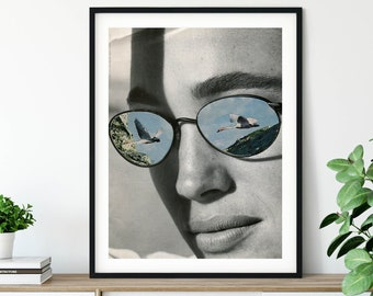 Fashion sunglasses black and white print with birds and blue sky