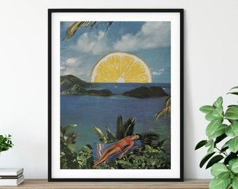 Tropical wall art print, Lemon poster, Sea Holiday Relaxing wall decor, Summer decor