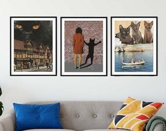 Cat prints wall art, Set of 3 prints, Cat lady wall decor