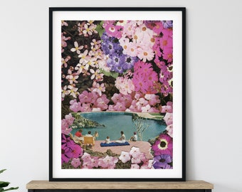 Extra large pink print, Summer wall art decor, Living room large poster