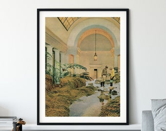 Architecture print , Beige art poster Nature wall art, River