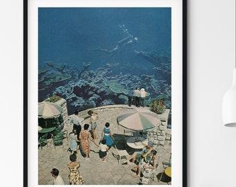 Blue summer print, Underwater print, Living room prints, Bedroom decor, Bathroom art,