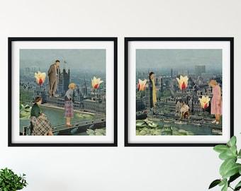 Set of 2 London prints, Big Ben travel poster, 2 square prints, Living room decor, Wall art