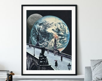 Large wall art, extra large print, hallway prints, Livingroom wall art, large bedroom print, world print, full moon print