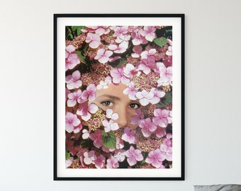 Extra large pink wall art print - Large floral print - Living room art