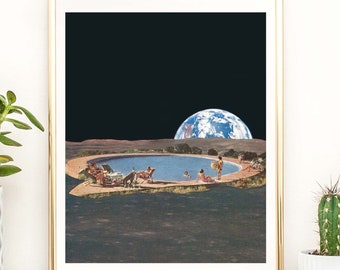 Retro print, retro poster, swimming pool print, summer art, summer decor, mid century art, vintage poster, earth, moon