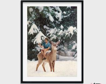Deer print, Winter decor, Snow scene art