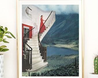 Mountain print, mountain art, Scandinavian print, Mid century prints, Retro art, Stairs, Nature prints, Lake print
