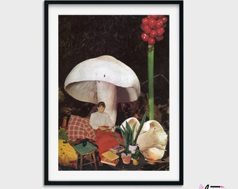 Mushroom poster, Vintage Poster Fungi Print, Collage art, Botanical poster