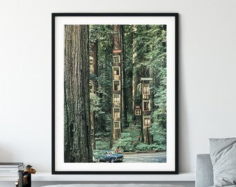 Nature print, Trees poster, Green wall decor, Woods , Surreal art, Collage