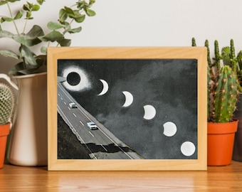 5x7 art print - Small car print - Moon Phases - Monochrome art