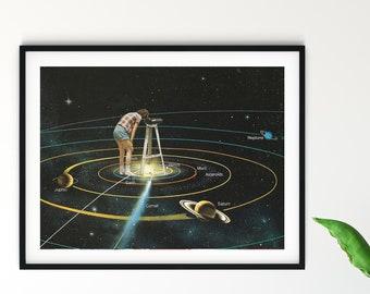 Solar System print, Universe art, Unique artwork, Large wall art,  extra large art, 30 x 40, 20 x 30, 45 x 30 prints, retro print