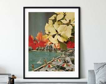 Large swimming pool wall art print, Autumnal colour poster, Summer poster, Plant botanical decor