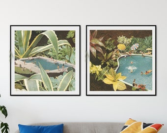 Set of 2 prints botanical - Print set of 2 tropical beach - Plants print set