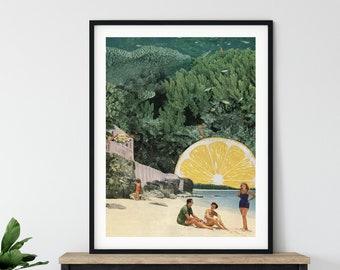 Extra large Beach print, Lemon art, Sage green prints, 30 x 40, 20 x 30, 45 x 30 prints, retro print, sea prints