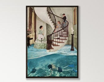 Large wall art,  extra large art, 30 x 40, 20 x 30, 45 x 30 prints, retro print,diving, beach art, water decor