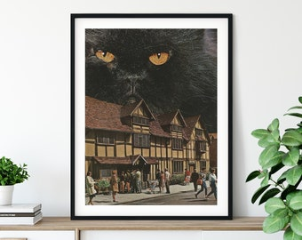 Extra large cat art print - Black cat illustration poster