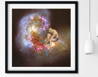 Universe print, Space art, Nebula, Diver gift, Diving,  Large size print, Large artwork, Square prints