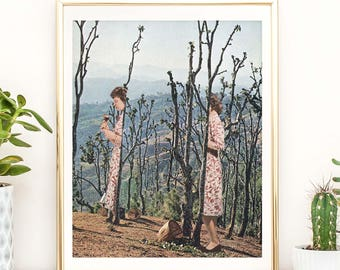 Nature prints, nature art, wood wall art, woodland print, quirky art, trees print, retro poster, pink wall art, minimalist print