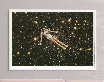 Oversized wall art, Swimming in the universe, Stars print, Large prints, Extra large wall decor