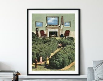 Architecture print, Travel poster, Nature art, Green poster, Large wall art, Extra large, Oversized prints