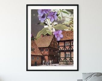 Botanical print - Garden lilac flower print - Architecture art - Unique prints