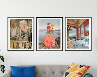 Prints set of 3, Living room, bedroom, wall art decor, Modern art posters
