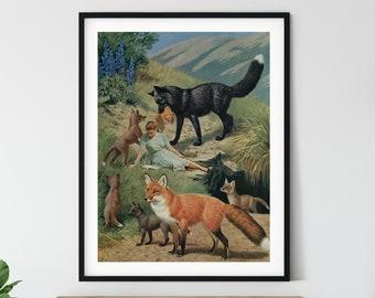 Animal prints, animal art, woodland animals, fox print, wolf print, best friends gift, vintage poster, collage