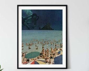 Beach print , beach art, summer print, beach poster, sea decor, sea wall art , sea prints, diving gift