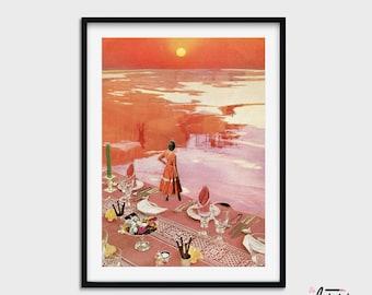 Sunset print, Sunset wall art, Orange wall art, Orange decor, Living Room Wall Art, Large Print, Warm Colour, Modern Art, Apartment Decor,