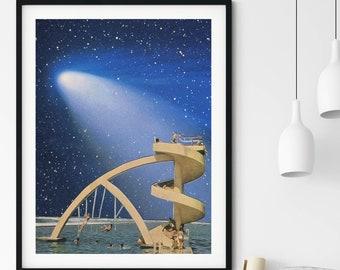 Blue wall art, Ocean Print, Beach art, Retro posters, Space summer art