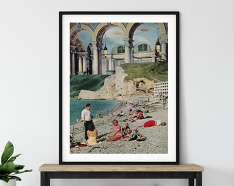 Beach print wall art, Summer prints, Seaside art, Modern architecture poster