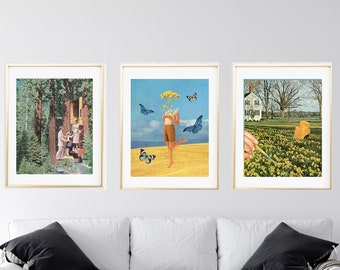 Print set of 3 nature - Summer print set of 3 - Yellow bright colour print set