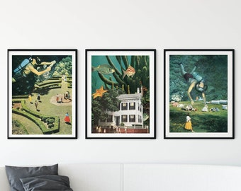 Set of 3 prints green under water art for living room, bathroom or bedroom