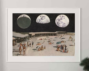 Full moon extra large print, Moon phases, Beach poster, Oversized art