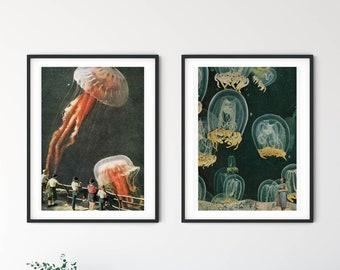 Print set of 2 jelly fish - Living room, bathroom or office wall decor prints