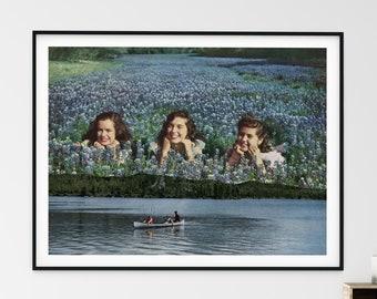 Extra large art print, Blue prints, Floral art, Blue wildflower print, Botanical Wall Art, Floral Print Living Room Wall Art,