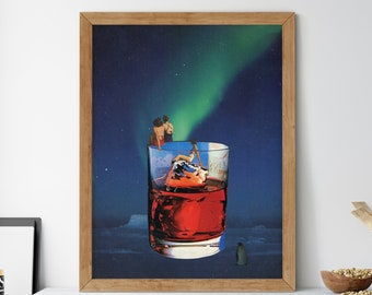 Northern lights print, Drink poster, Kitchen wall decor, Wall art, Prints