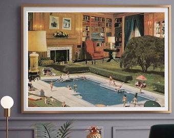 Swimming pool poster, Unique modern art, Interior design, Tropical decor, Vintage style art