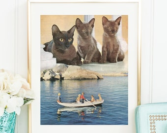 Cat print, cats lover gift, cats in prints, cat prints, cat posters, crazy cat lady, collage art, retro , vintage