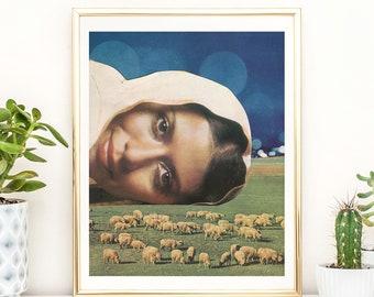 A3 prints, prints, sheep print, modern wall art, Wall Art, Retro Art, Interior Decor, nature prints, Wilderness Poster, green