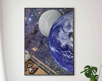 Large blue wall art, Universe, space, stars, earth and moon, Feminist large poster