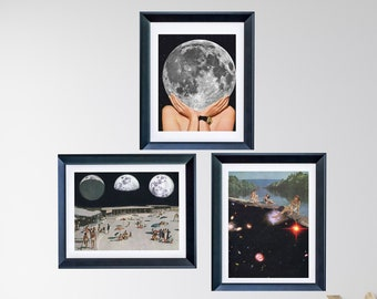 Print set of 3 - Moon phases - La luna space print set