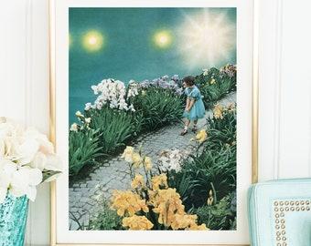 Teal wall art, Blue green poster, print wall art, teal home decor, nursery art, floral print, A4 print, A3 print