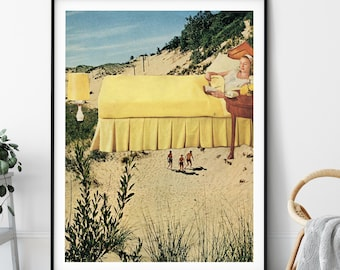 Beach print, Wall art decor, Yellow art poster , UK