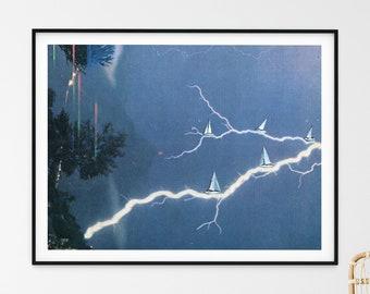 Boat print, Storm art, Sailing boat art, Minimal art, blue print