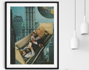 Cityscape print, City print, Blue poster, Large wall art,  extra large art, 30 x 40, 20 x 30, 45 x 30 prints, retro print