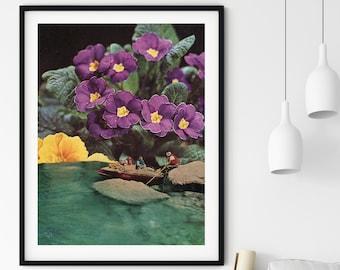Flower print, Floral art, tropical art print, sea prints