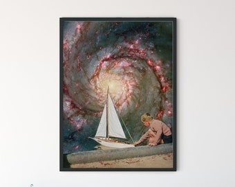 Extra large wall art prints, Universe nebula print, Boat art, Large Nursery print