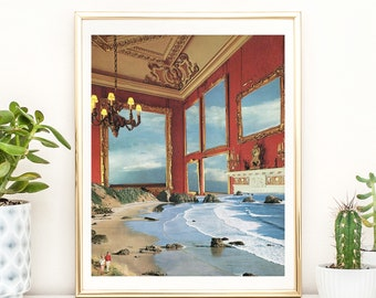 Nature print,  Sea print, Red wall art, Unique art, Collage art, Artisticsideoflife, Landscape wall art, Seascape